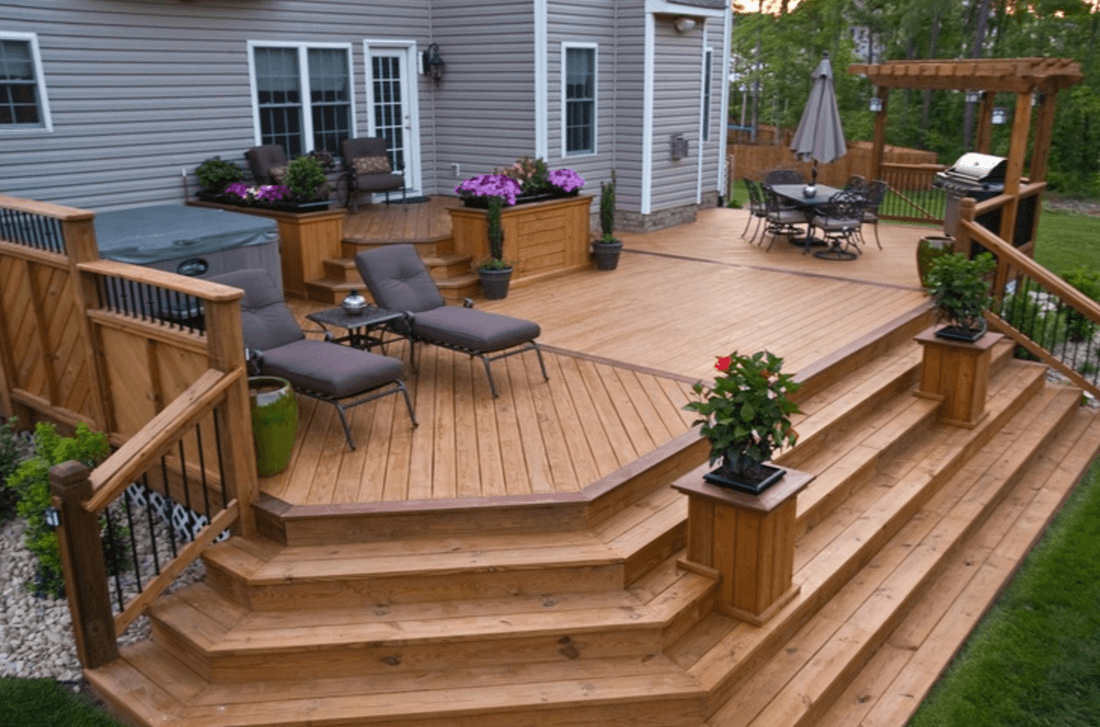 Wood deck installation in Wylie